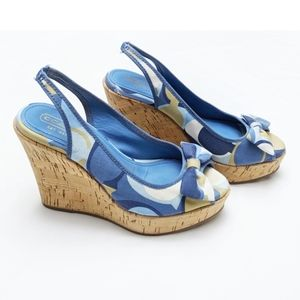 Coach | Blue Bow Open Toe Wedges